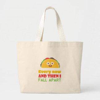 Grand Tote Bag De temps à autre je tombe taco à part drôle mardi