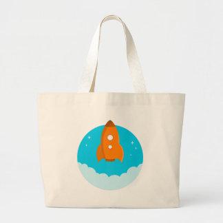 Grand Tote Bag Décollage de bateau de Rocket