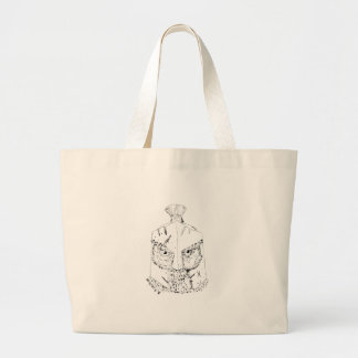 Grand Tote Bag Dessin spartiate de casque de hibou à cornes