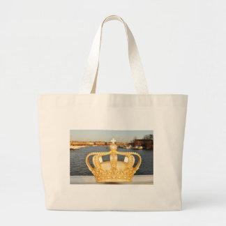 Grand Tote Bag Détail de pont d'or en couronne à Stockholm, Suède