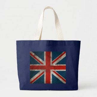 Grand Tote Bag Drapeau britannique classique vintage affligé