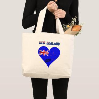 Grand Tote Bag Drapeau de coeur de la Nouvelle Zélande