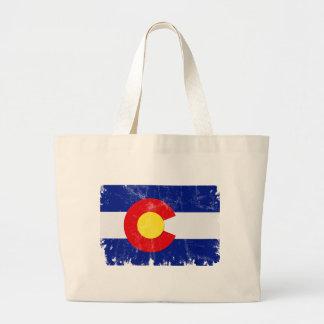 Grand Tote Bag Drapeau du Colorado affligé