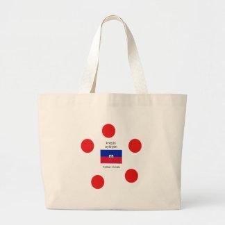 Grand Tote Bag Drapeau haïtien et conception créole de langue
