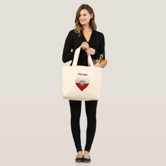 Grand Tote Bag Drapeau polonais de coeur