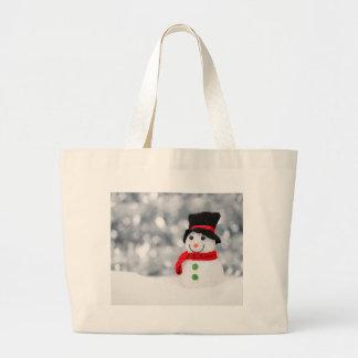 Grand Tote Bag Écharpe mignonne du bonhomme de neige W d'hiver et