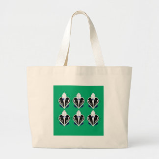 Grand Tote Bag Eco blanc vert d'éléments