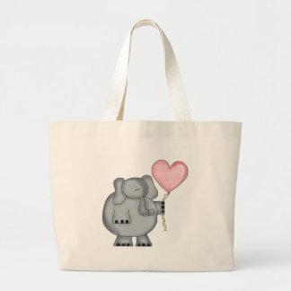 Grand Tote Bag Éléphant avec le ballon de coeur
