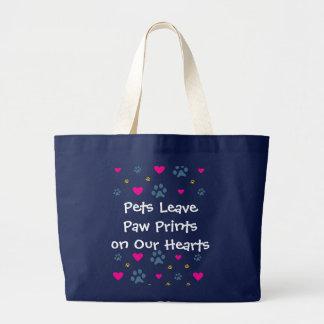 Grand Tote Bag Empreintes de pattes de congé d'animaux familiers