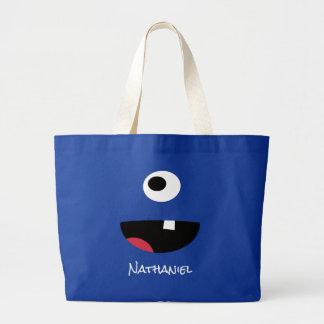 Grand Tote Bag Enfants drôles observés de visage de monstre du