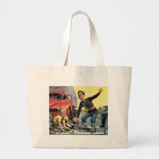 Grand Tote Bag Enfants vintages, fille de aide de patrouille de