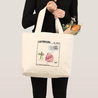 Grand Tote Bag Épicerie réutilisable de jambon de bande dessinée