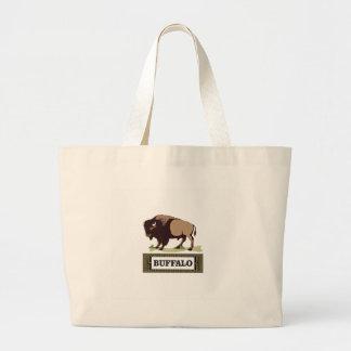 Grand Tote Bag étiquette brune de buffle