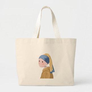 Grand Tote Bag Fille avec une boucle d'oreille de perle