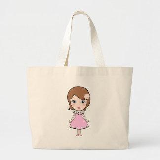 Grand Tote Bag Fille de poupée de cheveux courts