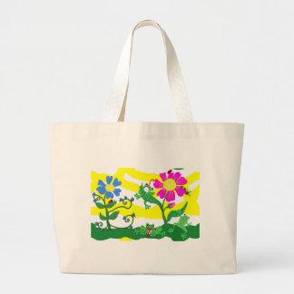 Grand Tote Bag Fleurs et grenouilles