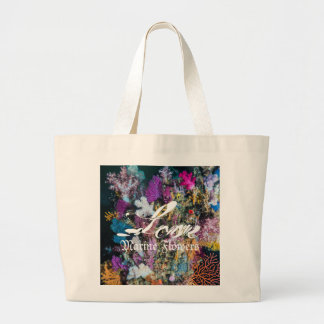 Grand Tote Bag Fleurs marines d'amour, corail mou,
