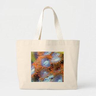 Grand Tote Bag fleurs oranges de doigt d'océan