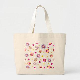 Grand Tote Bag Fleurs roses, jaunes et bleues abstraites colorées