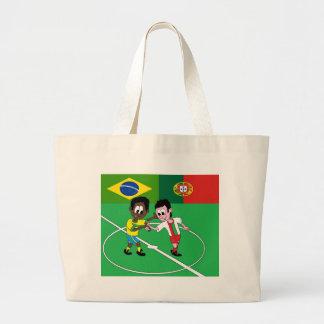 "GRAND TOTE BAG FOOTBALL BRESIL PORTUGAL ""RESPECT"""