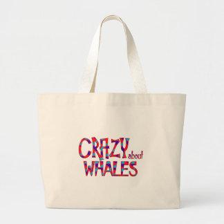 Grand Tote Bag Fou au sujet des baleines
