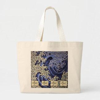 Grand Tote Bag Fourre-tout enorme avec la VAGUE ET LES POISSONS