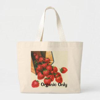 Grand Tote Bag Fraises vintages dans le panier, baies de fruit de