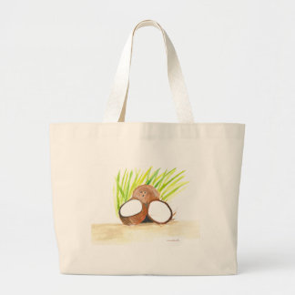 Grand Tote Bag Fruits de noix de coco pour aquarelle