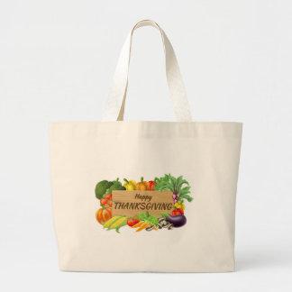 Grand Tote Bag Fruits de thanksgiving et signe de produit de