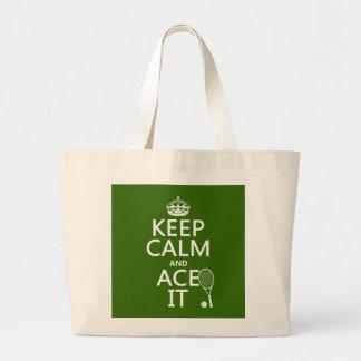 Grand Tote Bag Gardez le calme et Ace le (le tennis) (dans toute