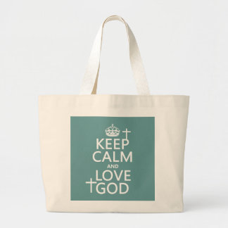 Grand Tote Bag Gardez le calme et aimez Dieu - toutes les