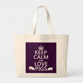 Grand Tote Bag Gardez le calme et aimez les porcs (toutes les