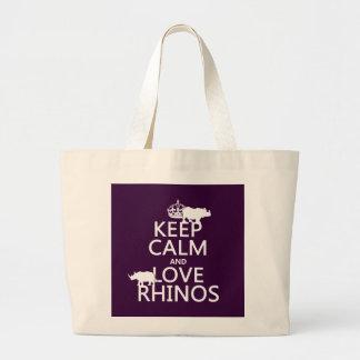 Grand Tote Bag Gardez le calme et aimez les rhinocéros (toute