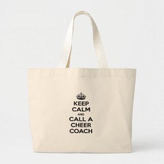 Grand Tote Bag Gardez le calme et appelez un entraîneur