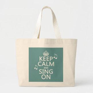 Grand Tote Bag Gardez le calme et chantez dessus - toutes les