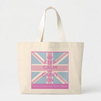 Grand Tote Bag Gardez le calme et continuez Union Jack rose et bl