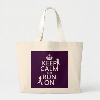 Grand Tote Bag Gardez le calme et courez sur (les couleurs
