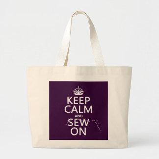 Grand Tote Bag Gardez le calme et cousez sur (dans toutes les