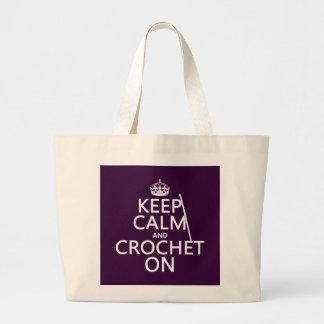 Grand Tote Bag Gardez le calme et faites du crochet dessus
