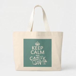 Grand Tote Bag Gardez le calme et faites un gâteau