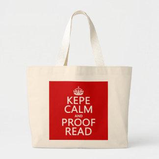 Grand Tote Bag Gardez le calme et le corrigez sur épreuves (le