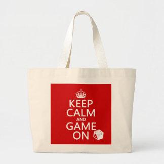 Grand Tote Bag Gardez le calme et le jeu dessus - des matrices -