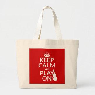 Grand Tote Bag Gardez le calme et le jeu sur (violon) (toute