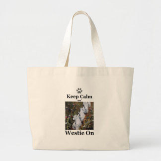 Grand Tote Bag Gardez le calme et le Westie dessus, le terrier