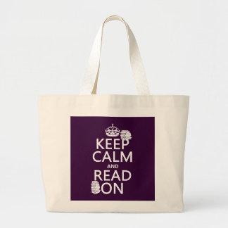 Grand Tote Bag Gardez le calme et lisez sur (dans toute couleur)