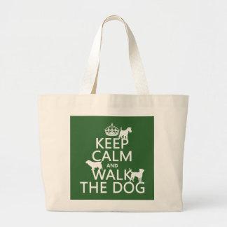 Grand Tote Bag Gardez le calme et marchez le chien - toutes les