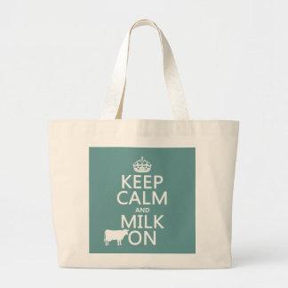 Grand Tote Bag Gardez le calme et trayez sur (les vaches) (dans