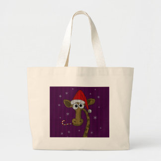 Grand Tote Bag Girafe de Noël