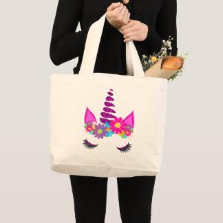 Grand Tote Bag Girly mignon superbe fleuri de licorne