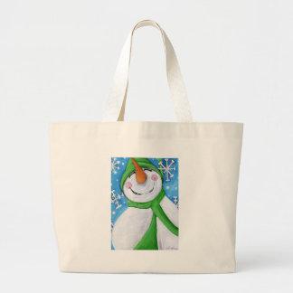 Grand Tote Bag Givré le bonhomme de neige heureux